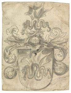 Abb.: Lucas Cranach d. Ä. Cranachs Wappen, um 1508 Feder in schwarzer Tinte, grau laviert, 15,7 x 20,6 cm Universitätsbibliothek Erlangen, Graphische Sammlung, Inv. Nr. B 1312