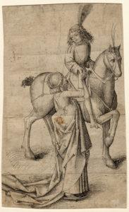 Abb.: Hans Pleydenwurff, Jugendlicher Reiter, dem eine junge Dame die Hand reicht, um 1470/80, Erlangen, Graphische Sammlung der Universitätsbibliothek