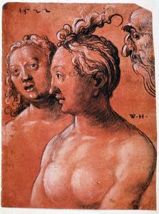 Abb.: Wolf Huber, Brustbilder zweier Frauen und Greisenkopf, 1522, Erlangen, Graphische Sammlung der Universitätsbibliothek